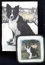 Border Collie Dish Towel & Potholder