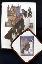 Boston Terrier Dish Towel & Potholder