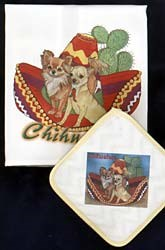 Chihuahua Dish Towel & Potholder