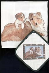 Collie Dish Towel & Potholder