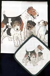 Wire Fox Terrier Dish Towel & Potholder
