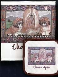 Lhasa Apso Dish Towel & Potholder