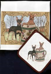 Miniature Pinscher Dish Towel & Potholder