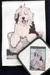 Old English Sheepdog Dish Towel & Potholder