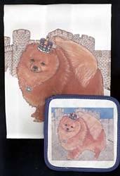 Pomeranian Dish Towel & Potholder
