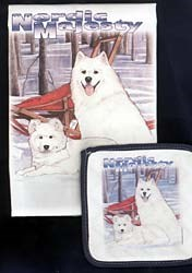 Samoyed Dish Towel & Potholder