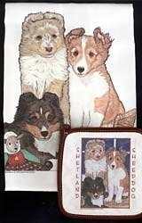 Shetland Sheepdog Dish Towel & Potholder