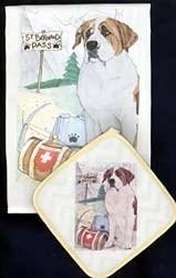 Saint Bernard Dish Towel & Potholder