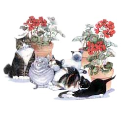 Calico Cat T-Shirt - Friends and Flowers