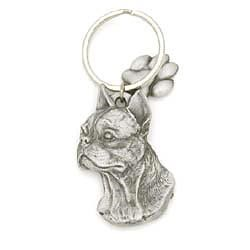 Boston Terrier Keychain Pewter