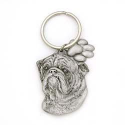 Bulldog Keychain Pewter