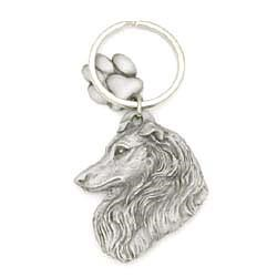 Collie Keychain Pewter