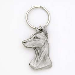 Doberman Pinscher Keychain Pewter