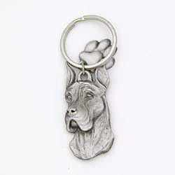 Great Dane Keychain Pewter