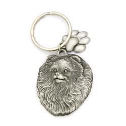 Pomeranian Keychain Pewter