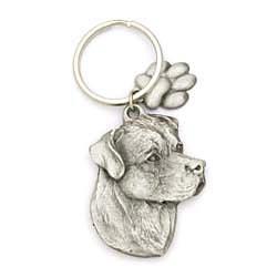 Rottweiler Keychain Pewter