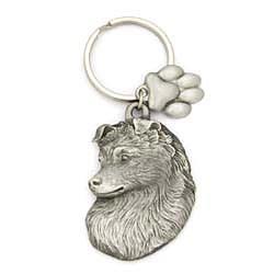 Shetland Sheepdog Keychain Pewter
