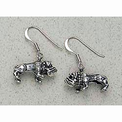 Bulldog Earrings Sterling Silver