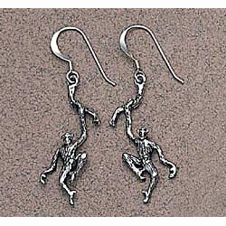 Chimpanzee Earrings Sterling Silver