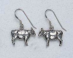 Cow Earrings Sterling Silver