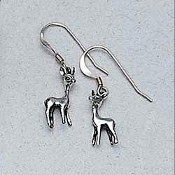 Deer Earrings Sterling Silver