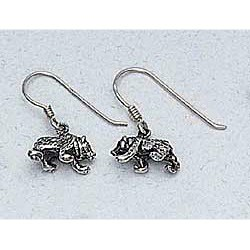 Grizzly Bear Earrings Sterling Silver