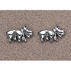 Hippopotamus Earrings Sterling Silver