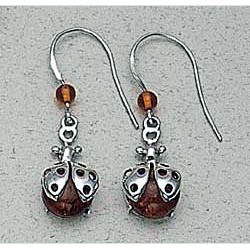 Amber Ladybug Earrings