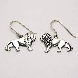 Lion Earrings Sterling Silver