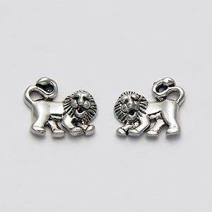 Lion Earrings Sterling Silver Stud