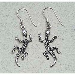 Lizard Earrings Sterling Silver