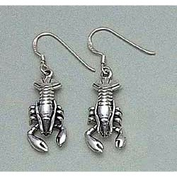 Lobster Earrings Sterling Silver