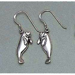 Manatee Earrings Sterling Silver