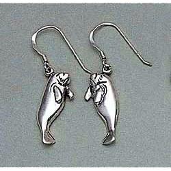 Manatee Earrings Sterling Silver
