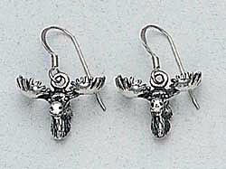 Moose Head Earrings Sterling Silver