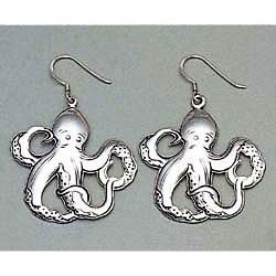 Octopus Earrings Sterling Silver