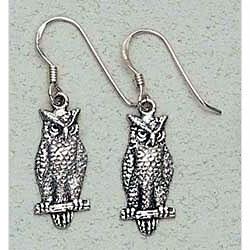 Owl Earrings Sterling Silver