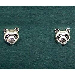 Panda Bear Earrings Sterling Silver Stud