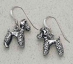 Poodle Earrings Sterling Silver