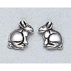 Rabbit Earrings Sterling Silver Stud