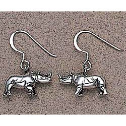 Rhinoceros Earrings Sterling Silver