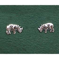 Rhinoceros Earrings Sterling Silver Stud