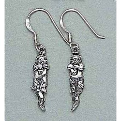 Sea Otter Earrings Sterling Silver Dangling