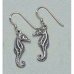Seahorse Earrings Sterling Silver