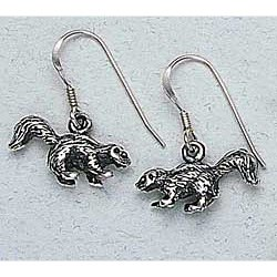 Skunk Earrings Sterling Silver