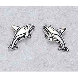 Orca Whale Earrings Sterling Silver