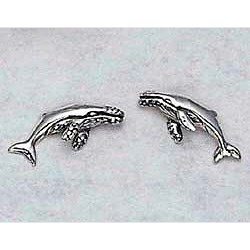 Humpback Whale Earrings Sterling Silver Stud