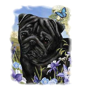 Black Pug T-Shirt - Flowers