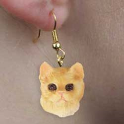 Red Tabby Cat Authentic Earrings