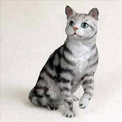 Tabby Cat Figurine - Gray